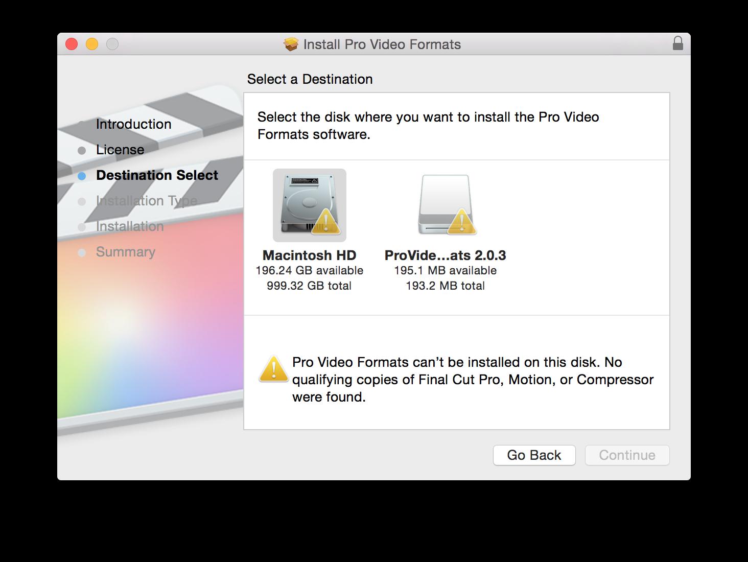 installation des provideo formats